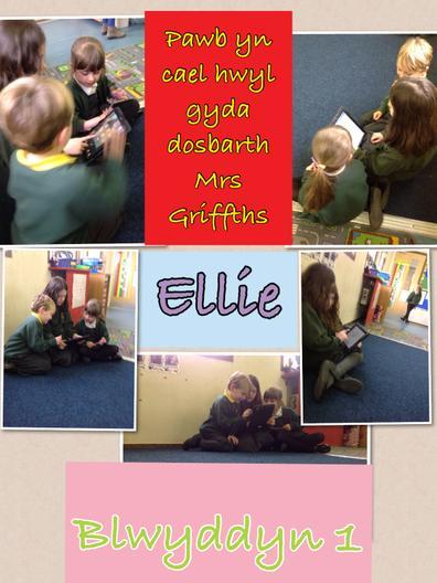 Ellie gyda dosbarth Blwyddyn 1 Mrs Griffiths.