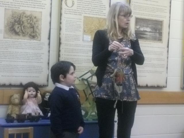 A wooden puppet