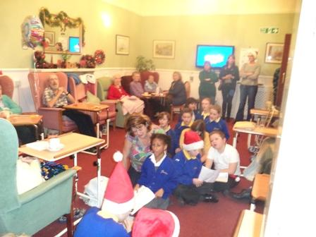 The KS2 Choir sang to the residents at a Care Home