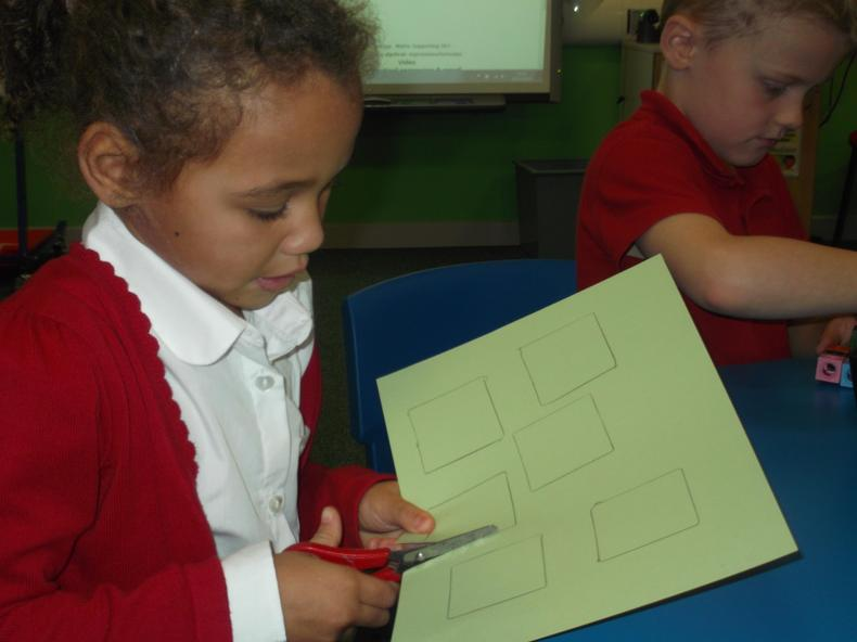 We also made 3D shapes out of card.
