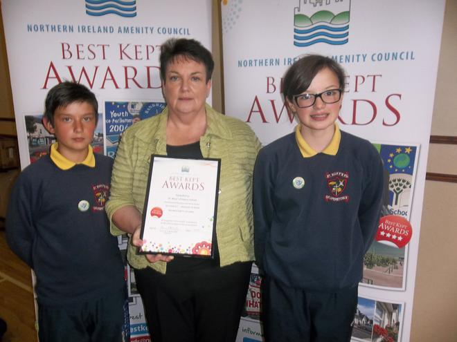 Mrs Higgins and pupils from Eco Committee
