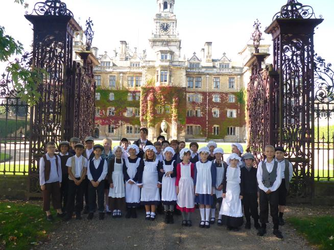 5H gathered outside the impressive Thoresby Hall, which was home to the Earl of Manvers.