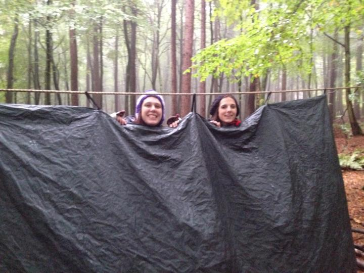 Monday- putting up tarpaulins to stay dry!