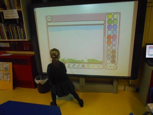 using the interactivie white board.