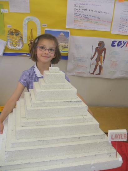 An Egyptian pyramid made of polystyrene