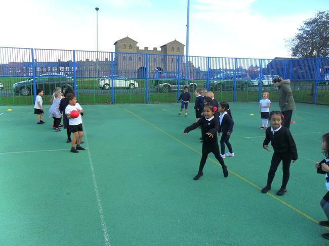 Practising our ball skills.