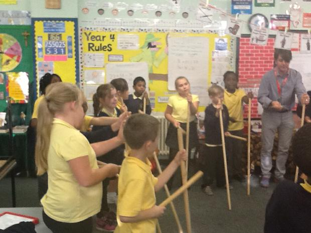 We have learnt lots of rhythms using broomsticks.