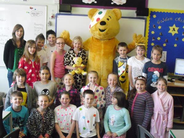 Mrs Nixon and her class welcome Pudsey
