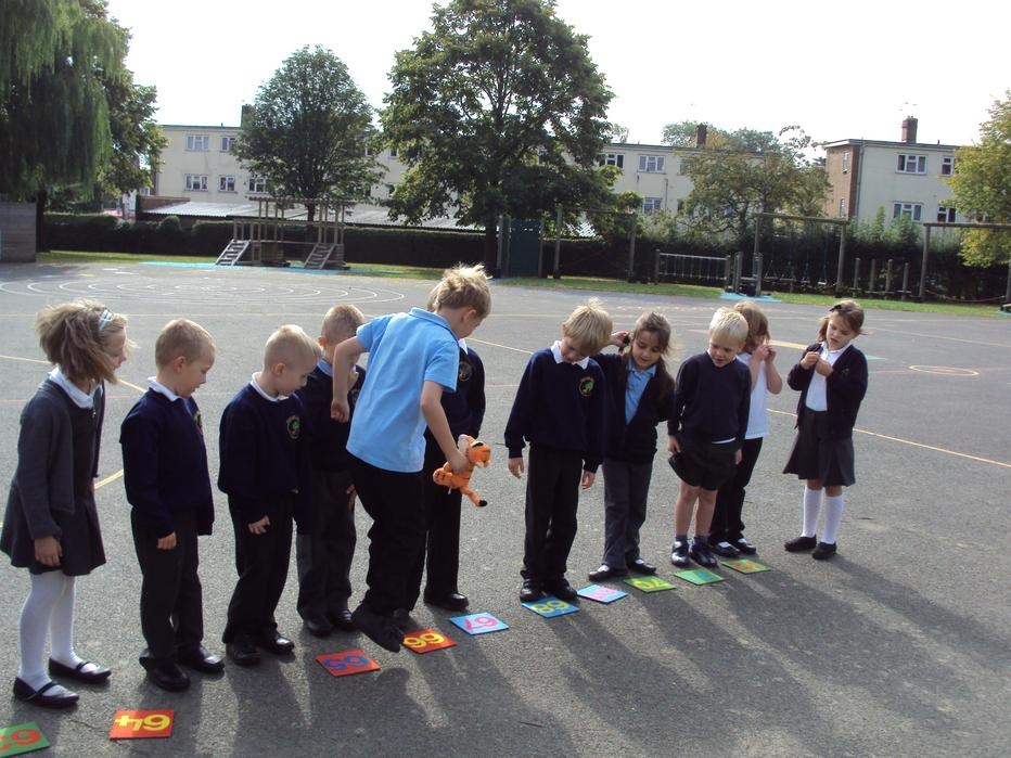 Jumping along a number line.