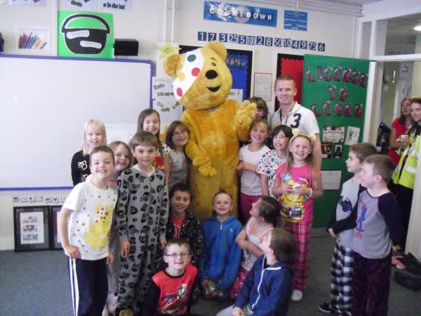 Pudsey visits Mr McCann's classroom.