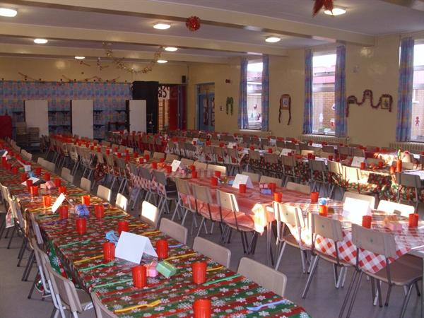 We helped to decorate the canteen for Christmas...