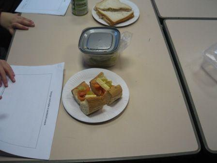 Designing and making sandwiches in Year 3