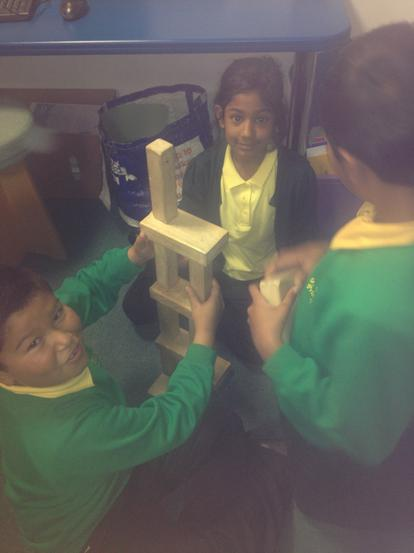 Building a tower and discussing how.