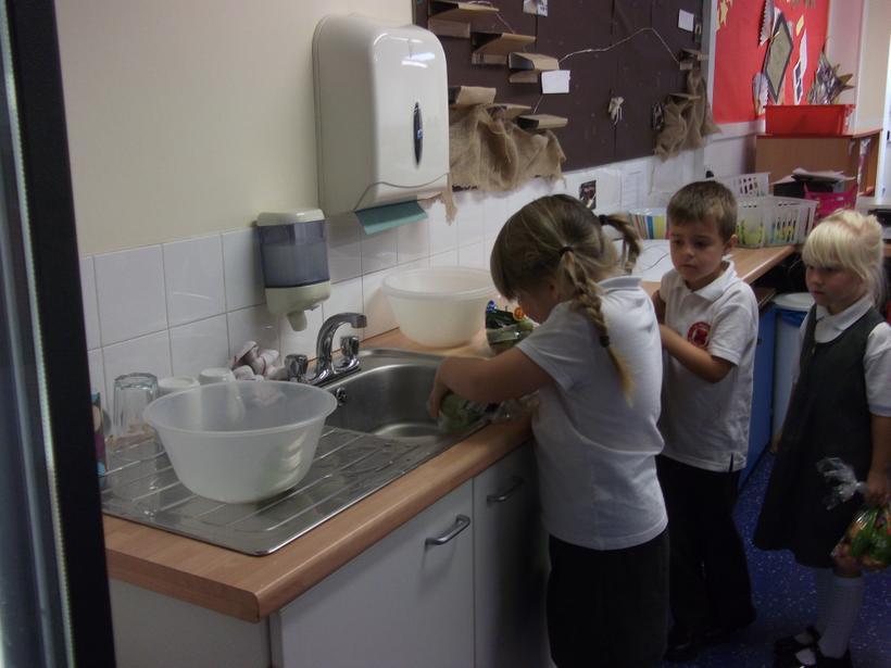 Washing the fruit.