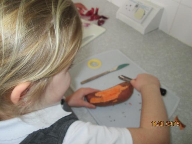 We peeled the sweet potato