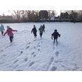 We loved looking at the snow tracks we made