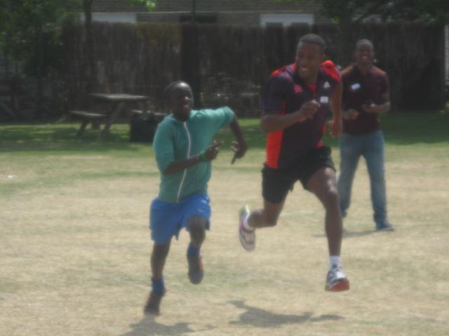 Our fab athlete Enoch raced ex-pupil Sean Stewart!