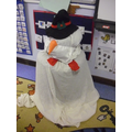 We built our own snowman indoors.