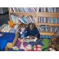 Reading together on Pyjama Day