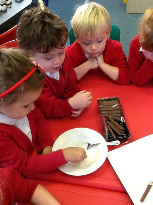 Making chocolate 'sparklers'