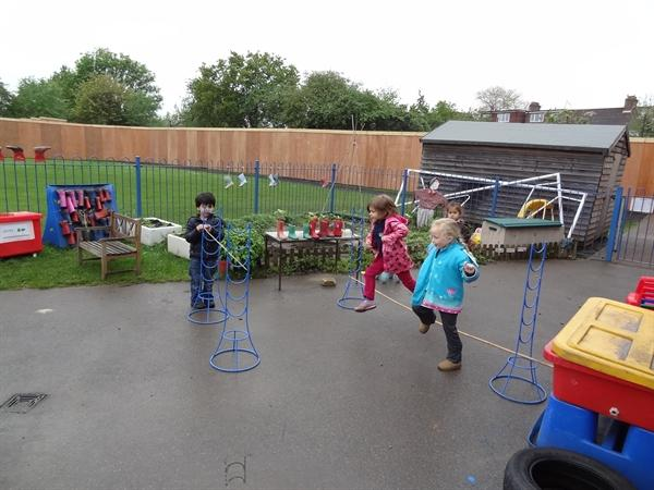 Learning to jump over objects.