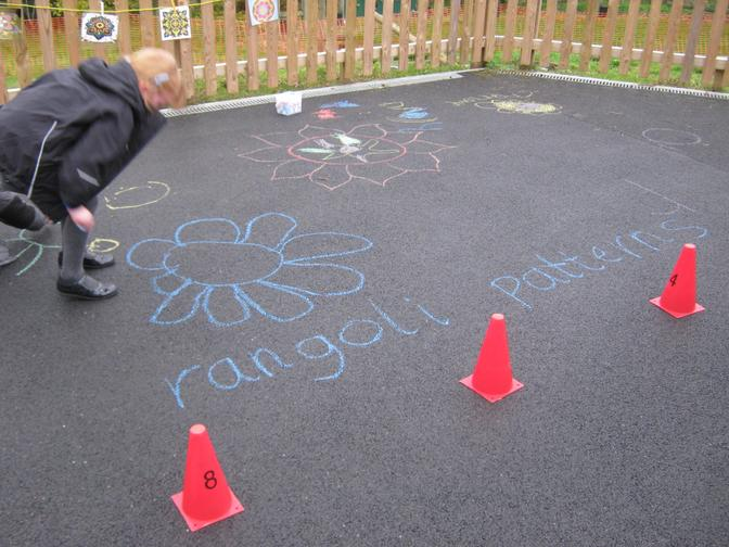 We decorated the playground with Rangoli patterns