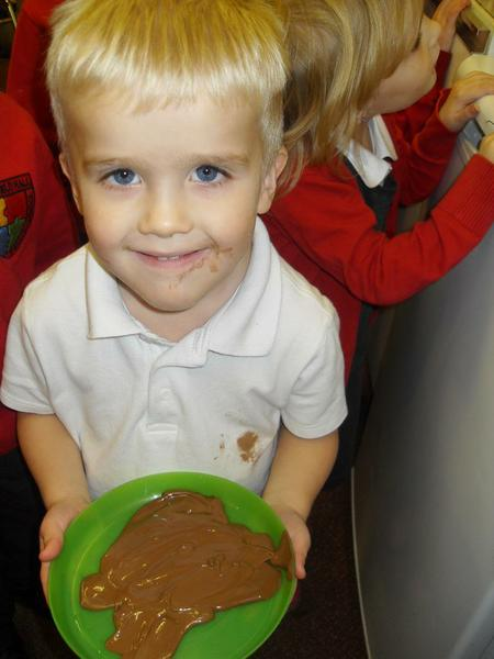 Observing the the changes to melted chocolate.