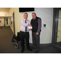 Paul Middleton presents the cheque to Dave