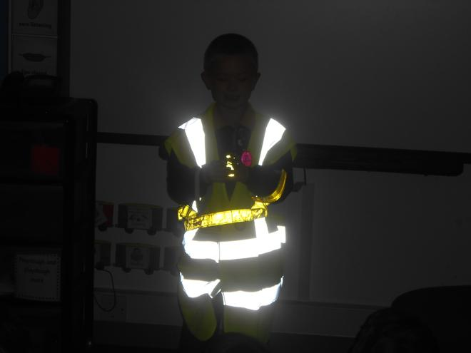 Wearing reflective clothing