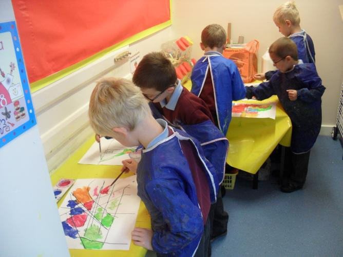 We looked at Paul Klee's paintings and used them as inspiration for our own work.