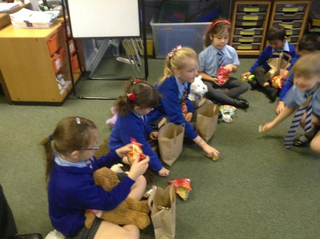 Enjoying goodies from the picnic bag!