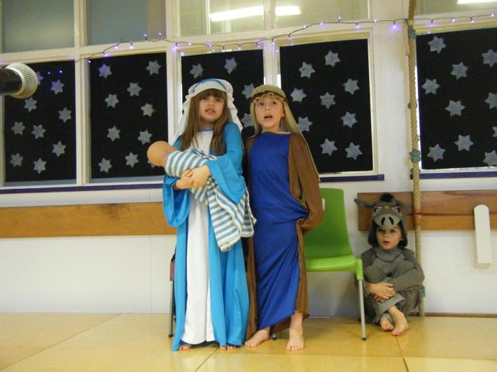 Mary, Joeseph, Baby Jesus and The Donkey