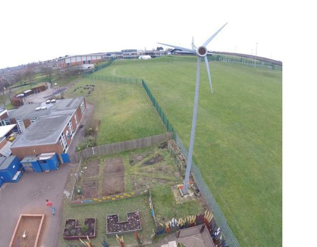 Pupil allotments and school Wind Turbine