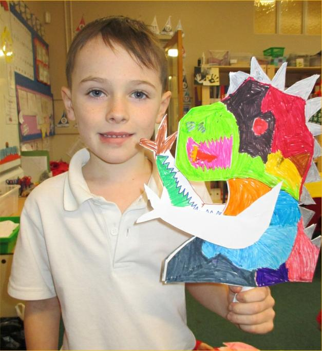 Tommy's bright, colourful dragon