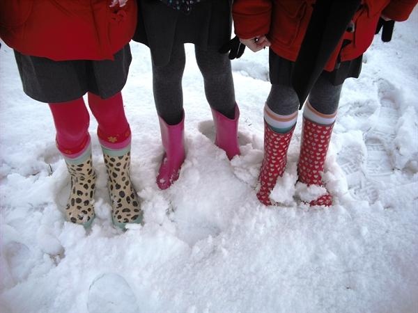 Snow = wellies!