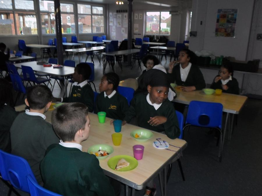 Children like to eat breakfast with their friends.