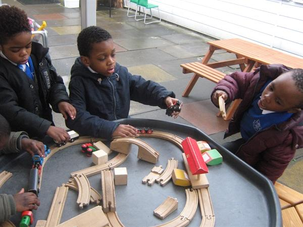 Having fun with the train set.