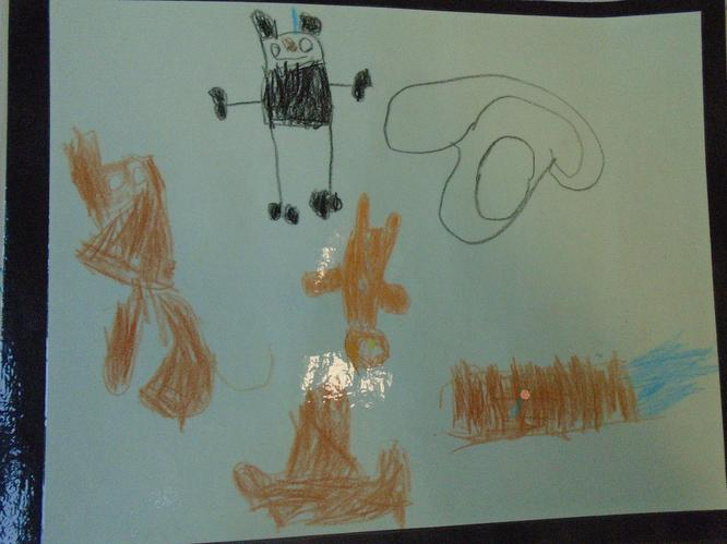Aidan drew the main characters in the story.