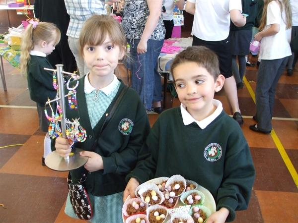 Year 2 made bracelets and Easter cakes.