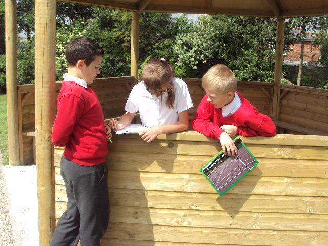 Writing all the different shapes on the playground