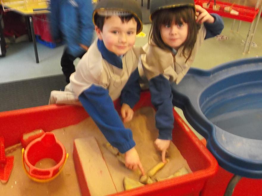 We found dinosaur bones in the sand!