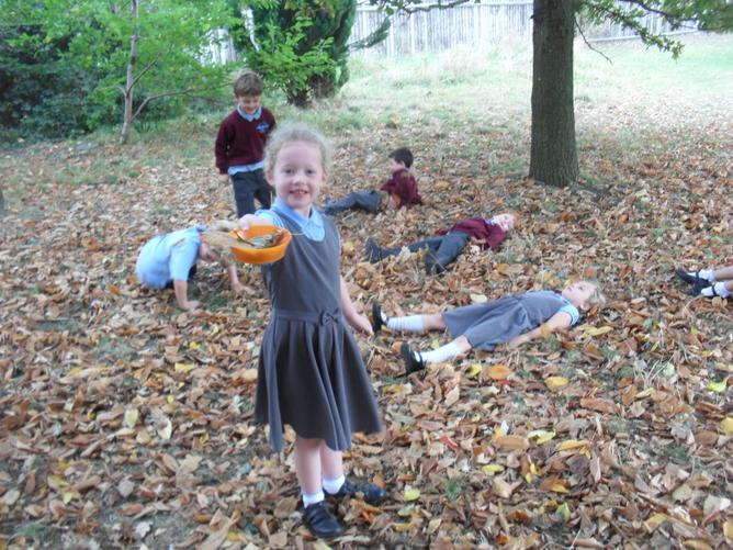 We collected leaves to observe and sort. But of course we had to play in them too!