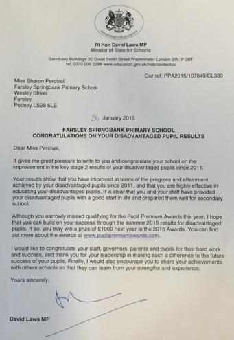 Pupil Premium letter to congratulate 2015