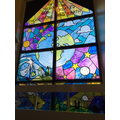 Stained Glass Window on stairs to Y5&6