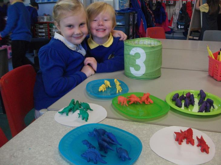 Sorting dinosaurs into colour grous and species.