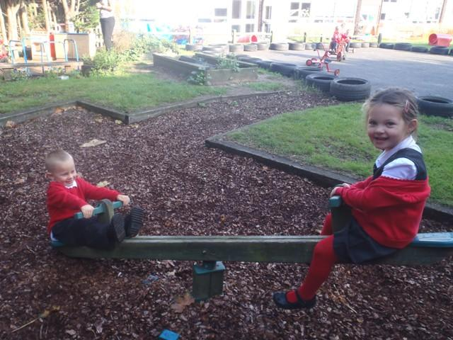 We love to play in the outdoor area together.