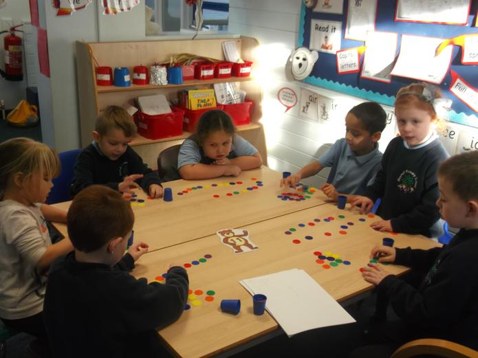 We practised counting in 2s with counters.