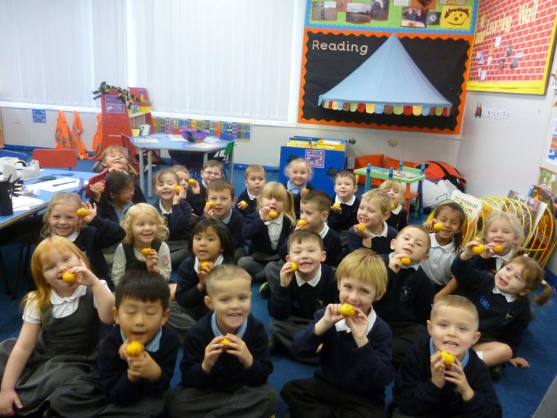 Our oranges transformed into mini pumpkins!