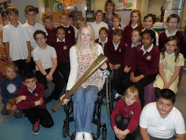 Mrs Reid's class meet Official Olympic Torchbearer