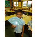 Un abanico azul